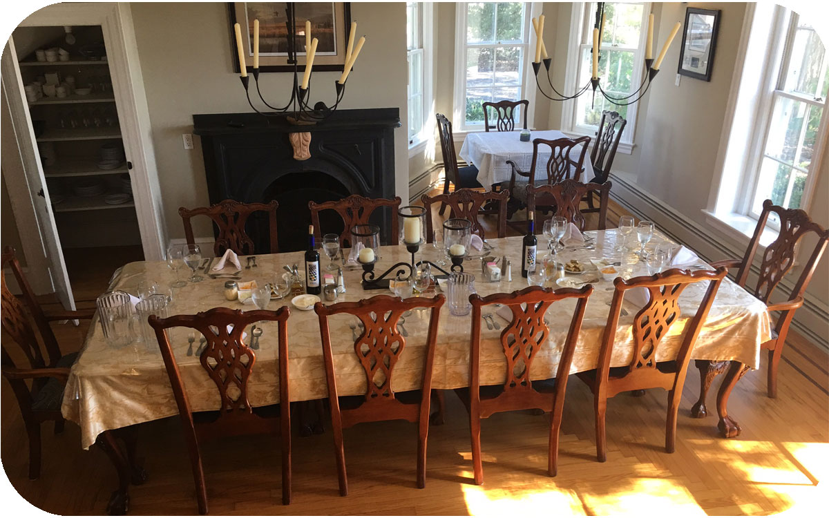 Table is set inside of the M&M Hunting Lodge in Pennsvile, NJ