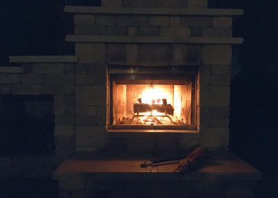 fire in fireplace at lodge
